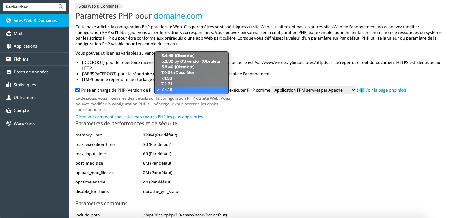 Liste des versions PHP