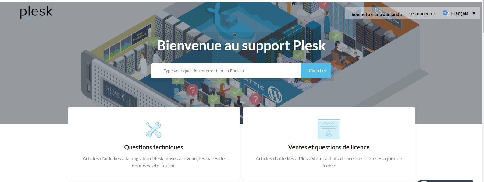 Centre d'Aide en ligne Plesk