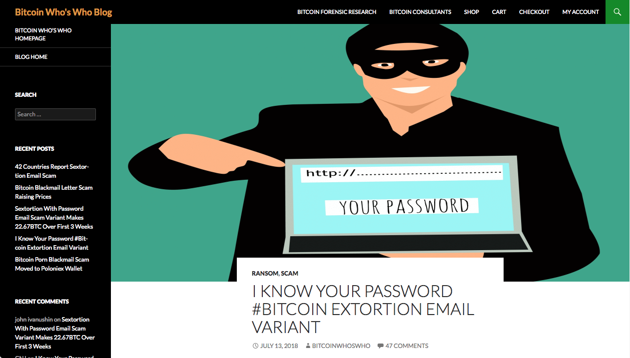 I KNOW YOUR PASSWORD #BITCOIN EXTORTION EMAIL VARIANT