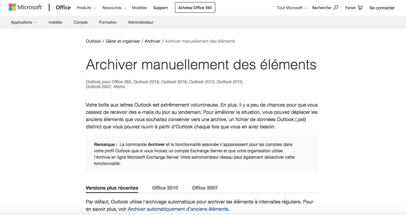 Archiver manuellement des éléments dans Outlook